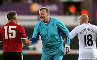 Roger Freestone (C) is greeted by Clayton Blackmore of Manchester United (L) during the Swansea Legends v Manchester United Legends at The Liberty Stadium, Swansea, Wales, UK. Wednesday 09 August 2017