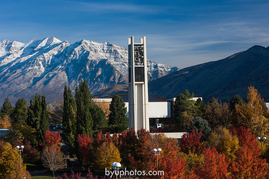 0610-70<br /> Carillon Bell tower with Mt. Timpanogas<br /> Autumn leaves<br /> <br /> October 27, 2006<br /> <br /> Photography by Mark A. Philbrick<br /> <br /> Copyright BYU Photo 2006 <br /> All Rights Reserved <br /> photo@byu.edu  (801)422-7322