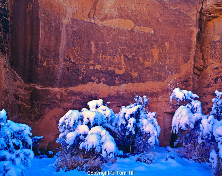 Ancestral Puebloan Rock Art in Snow, Proposed La Sal Waters Wilderness, Utah