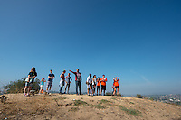 Students and their families look out over Los Angeles from Fiji Hill during Orientation, Aug. 23, 2015.<br />