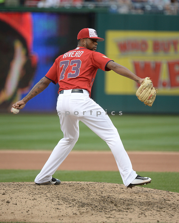 Washington Nationals Felipe Rivero (73) during a game against the Milwaukee Brewers on July 4, 2016, at Nationals Park in Washington DC. The Brewers beat the Nationals 1-0.