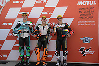 16th November 2019; Circuit Ricardo Tormo, Valencia, Spain; Valencia MotoGP, Qualifying Day; Moto3  pole winnwer from left Marcos Ramoirez (leopard), Andrea Migno (Mugen Race) and Jaume Masia (Mugen Race)  - Editorial Use