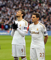 Pictured:  (L-R) Michu and Angel Rangel. Sunday 24 February 2013<br /> Re: Capital One Cup football final, Swansea v Bradford at the Wembley Stadium in London.