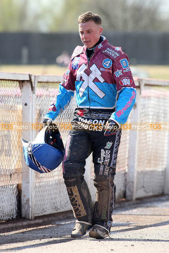 Heat 5: Disappointment for Rob Mear after his engine fails - Lakeside Hammers vs Eastbourne Eagles - Sky Sports Elite League Speedway at Arena Essex Raceway, Purfleet - 06/04/12 - MANDATORY CREDIT: Gavin Ellis/TGSPHOTO - Self billing applies where appropriate - 0845 094 6026 - contact@tgsphoto.co.uk - NO UNPAID USE.