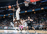 WASHINGTON, DC - JANUARY 28: Qudus Wahab #34 of Georgetown defends a shot by Kamar Baldwin #3 of Butler during a game between Butler and Georgetown at Capital One Arena on January 28, 2020 in Washington, DC.