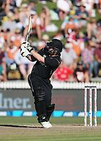 New Zealand's Colin Munro hits a six. New Zealand Blackcaps v England. One Day International Cricket. Seddon Park, Hamilton, New Zealand on Sunday 25 February 2018.<br /> <br /> Copyright photo: &copy; Bruce Lim / www.photosport.nz