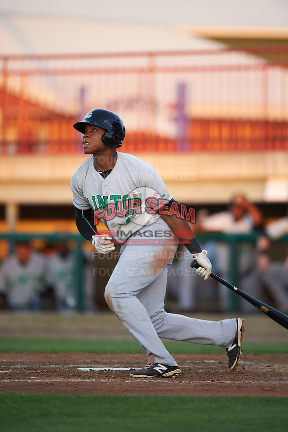 Clinton LumberKings outfielder Burt Reynolds (2) at bat during a game against the Burlington Bees on August 20, 2015 at Community Field in Burlington, Iowa.  Burlington defeated Clinton 3-2.  (Mike Janes/Four Seam Images)