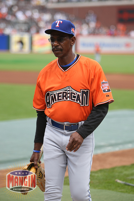 SAN FRANCISCO - JULY 10:  Ron Washington of the Texas Rangers and American League watches batting practice before the All Star Game against the National League at AT&T Park in San Francisco, California on July 10, 2007.  Photo by Brad Mangin