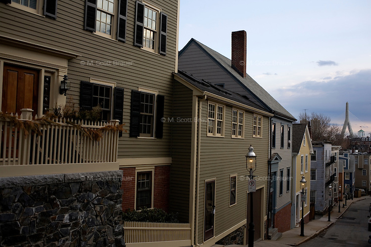 An view of houses and buildings in Charlestown, Massachusetts.