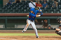 AZL Rangers third baseman Frainyer Chavez (60) at bat during an Arizona League game against the AZL Giants Black at Scottsdale Stadium on August 4, 2018 in Scottsdale, Arizona. The AZL Giants Black defeated the AZL Rangers by a score of 6-3 in the second game of a doubleheader. (Zachary Lucy/Four Seam Images)