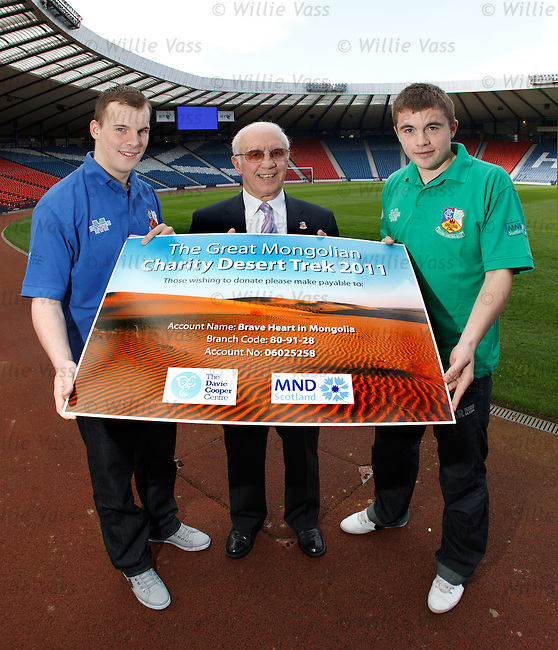 Willie Henderson at Hampden with Gregg Wylde and James Forrest launching a desert trek across the Gobi desert in Mongolia to raise money for the Davie Cooper centre and MND Scotland
