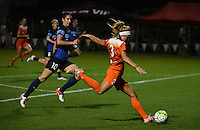 Kansas City, MO - Saturday May 07, 2016: Houston Dash forward Rachel Daly (3) against FC Kansas City midfielder Yael Averbuch (10) during a regular season National Women's Soccer League (NWSL) match at Swope Soccer Village. Houston won 2-1.