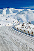 Road from Halfway to Hell's Canyon with snow. Oregon
