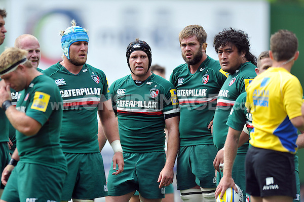 Leicester Tigers forwards look on during a break in play. Aviva Premiership match, between Leicester Tigers and Worcester Warriors on September 8, 2013 at Welford Road in Leicester, England. Photo by: Patrick Khachfe / JMP