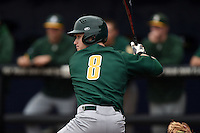 Siena Saints outfielder Dan Lowndes (8) at bat during the second game of a doubleheader against the Michigan Wolverines on February 27, 2015 at Tradition Field in St. Lucie, Florida.  Michigan defeated Siena 6-0.  (Mike Janes/Four Seam Images)