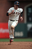 SAN FRANCISCO, CA - APRIL 29:  Buster Posey #28 of the San Francisco Giants runs the bases against the Los Angeles Dodgers during the game at AT&T Park on Sunday, April 29, 2018 in San Francisco, California. (Photo by Brad Mangin)