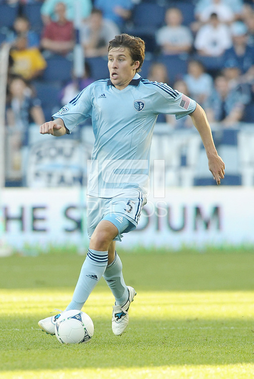Matt Besler (5) Sporting KC defender in action... Sporting KC defeated FC Dallas 2-1 at LIVESTRONG Sporting Park, Kansas City, Kansas.