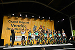 Bora-Hansgrohe on stage at the Team Presentations for the 105th Tour de France 2018 held on Napoleon Square in La Roche-sur-Yon, France. 5th July 2018. <br /> Picture: ASO/Bruno Bade | Cyclefile<br /> All photos usage must carry mandatory copyright credit (&copy; Cyclefile | ASO/Bruno Bade)