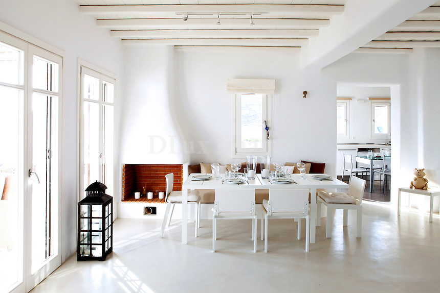 bright cycladic dining room