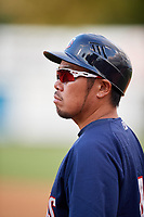 Elizabethton Twins coach Takashi Miyoshi (4) during a game against the Bristol Pirates on July 29, 2018 at Joe O'Brien Field in Elizabethton, Tennessee.  Bristol defeated Elizabethton 7-4.  (Mike Janes/Four Seam Images)