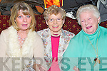 MERRY: Merrymaking in Kerins ORahillys GAA Clubhouse, Strand Road, Tralee, on Womens Christmas on Saturday evening were Denise McMahon, Rathoonane, Irene Foley, Knockmoyle, and Euphenia Fitzgibbon, Rathoonane..