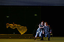 """EMBARGOED UNTIL 23:30 TUES 1ST OCTOBER, 2019. English National Opera presents """"Orpheus & Eurydice"""", by Christoph Gluck,  with libretto by Pierre-Louis Moline, version by Hector Berlioz, at the London Coliseum. Directed and choreographed by Wayne McGregor, with lighting design by Jon Clark, set design by Lizzie Clachan, costume design by Louise Gray, and video design by Ben Cullen Williams. Picture shows: Rebecca Bassett Graham (as Eurydice's double), Soraya Mafi (Love), Alice Coote (Orpheus)."""
