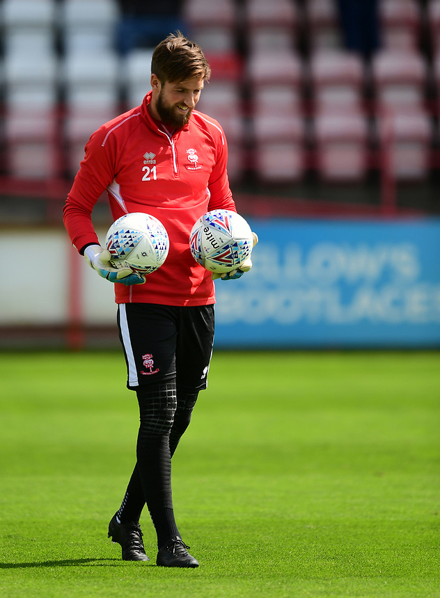 Lincoln City's Josh Vickers during the pre-match warm-up <br /> <br /> Photographer Chris Vaughan/CameraSport<br /> <br /> The EFL Sky Bet League Two - Exeter City v Lincoln City - Saturday 19th August 2017 - St James Park - Exeter<br /> <br /> World Copyright &copy; 2017 CameraSport. All rights reserved. 43 Linden Ave. Countesthorpe. Leicester. England. LE8 5PG - Tel: +44 (0) 116 277 4147 - admin@camerasport.com - www.camerasport.com