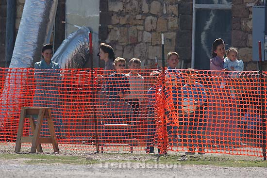 San Angelo - A group of FLDS children playing soccer in a fenced-off area at Fort Concho, where they are being held by Texas Child Protective Services Tuesday, April 8, 2008. CPS says they have taken 401 children from the YFZ Ranch into protective custody and brought them to Fort Concho.