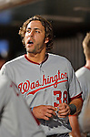 24 July 2012: Washington Nationals outfielder Michael Morse in the dugout during a game against the New York Mets at Citi Field in Flushing, NY. The Nationals defeated the Mets 5-2 to take the second game of their 3-game series. Mandatory Credit: Ed Wolfstein Photo