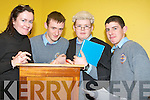 MOCK TRIAL: Staging a mock law trial on Tuesday were the Transition year students from CBS The Green Secondary School. From l-r were: Karen McCarthy (Solicitor), Alec Dolan, Daniel Hanafin and Hayden Fitzgerald.   Copyright Kerry's Eye 2008