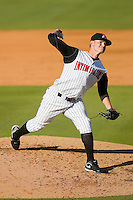 Relief pitcher JR Ballinger #29 of the Kannapolis Intimidators in action against the Rome Braves at Fieldcrest Cannon Stadium April 11, 2010, in Kannapolis, North Carolina.  Photo by Brian Westerholt / Four Seam Images