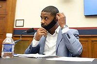 Civil rights demonstrator Kishon McDonald arrives for a House Natural Resources Committee hearing on Monday, June 29, 2020 to discuss the recent incident with U.S. Park Police removing protesters and journalists on June 1st at St. John's Episcopal Church near the White House for President Trump to conduct a photo op.<br /> Credit: Bonnie Cash / Pool via CNP / MediaPunch