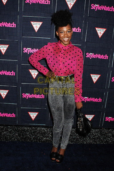 Danielle Watts.People StyleWatch hosts Hollywood Demin Party in honor of 2nd Annual Denim Issue held at Palihouse, West Hollywood, California USA..20th September 2012.full length pink black polka dot blouse shirt jeans denim acid wash hand on hip.CAP/ADM/BP.©Byron Purvis/AdMedia/Capital Pictures.