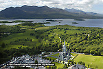 An aerial photo of St. Mary's Cathedral in Killarney County Kerry with the Lakes of Killarney and The McGillycuddy Reeks Mountains in the background.<br /> Photo: Don MacMonagle
