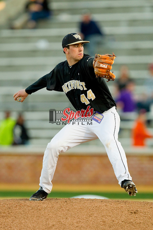 Wake Forest Demon Deacons relief pitcher Colin Egan (44) in action against the North Carolina Tar Heels at Wake Forest Baseball Park on March 9, 2013 in Winston-Salem, North Carolina.  The Tar Heels defeated the Demon Deacons 20-6.  (Brian Westerholt/Sports On Film)