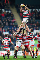 Mike Fitzgerald of Leicester Tigers wins the ball at a lineout. Aviva Premiership match, between Leicester Tigers and Gloucester Rugby on February 11, 2017 at Welford Road in Leicester, England. Photo by: Patrick Khachfe / JMP