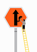 Businesswoman on ladder changing direction arrow on road sign