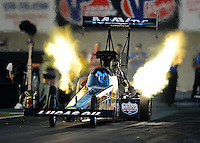 Oct. 5, 2012; Mohnton, PA, USA: NHRA top fuel dragster driver Brandon Bernstein during qualifying for the Auto Plus Nationals at Maple Grove Raceway. Mandatory Credit: Mark J. Rebilas-
