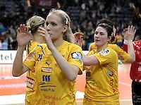 1. Bundesliga Handball Frauen - Punktspiel HC Leipzig (HCL) : DJK / MJC Trier - Arena Leipzig - im Bild: HCL Jubel - v.l. Jaqueline Hummel und Loraine Hellriegel. Foto: Norman Rembarz ..