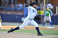 Asheville Tourists starting pitcher Alejandro Requena (15) delivers a pitch during a game against the Lexington Legends  at McCormick Field on May 31, 2017 in Asheville, North Carolina. The Tourists defeated the Legends 12-5. (Tony Farlow/Four Seam Images)