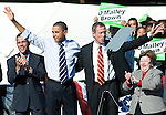 The Gazette President Barack Obama links arms with Maryland Governor Martin O'Malley (D) waving to the crowd as Lt. Governor Anthony Brown (left) and Sen. Barbara Mikulski (D-MD) (right) applaud during the Democratic rally for voter turnout held at Bowie State University on Thursday afternoon.
