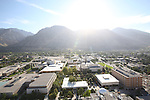 1309-22 0661<br /> <br /> 1309-22 BYU Campus Aerials<br /> <br /> Brigham Young University Campus West looking East, Provo, Sunrise, Y Mountain,  Eyring Science Center ESC, Clark Building HRCB, Lee Library HBLL, Clyde Building CB<br /> <br /> September 7, 2013<br /> <br /> Photo by Jaren Wilkey/BYU<br /> <br /> &copy; BYU PHOTO 2013<br /> All Rights Reserved<br /> photo@byu.edu  (801)422-7322