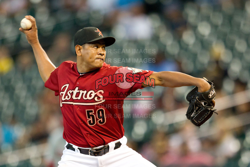 Houston Astros pitcher Wilton Lopez #59 delivers a pitch during the Major League baseball game against the Philadelphia Phillies on September 16th, 2012 at Minute Maid Park in Houston, Texas. The Astros defeated the Phillies 7-6. (Andrew Woolley/Four Seam Images).