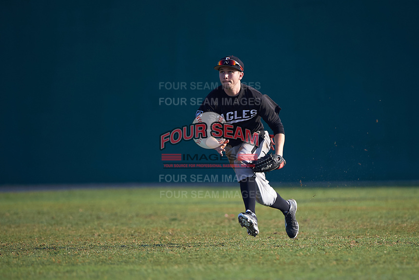 Edgewood Eagles Andrew Lauritzen (11) during the first game of a doubleheader against the Lasell Lasers on April 14, 2016 at Terry Park in Fort Myers, Florida.  Edgewood defeated Lasell 9-7.  (Mike Janes/Four Seam Images)
