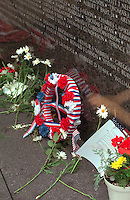 Vietnam Wall decorated with flowers and wreath on Memorial Day. St Paul Minnesota USA