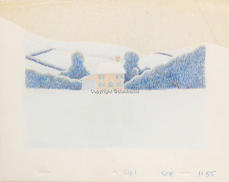 BNPS.co.uk (01202 558833)<br /> Pic: Bonhams/BNPS<br /> <br /> PICTURED: The Snowman: an original animation backdrop cel of a winter scene.<br /> <br /> Original animation cells from the Christmas film 'The Snowman' have sold at auction for £14,000.<br />  <br /> The 16 drawings were sketched on celluloid plastic and then filmed in sequence to give the impression they were moving.<br /> <br /> They were sold individually, with the most valuable being a picture of James and the Snowman embraced in a hug.