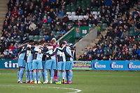 The Wycombe team huddle ahead of the Sky Bet League 2 match between Plymouth Argyle and Wycombe Wanderers at Home Park, Plymouth, England on 30 January 2016. Photo by Mark  Hawkins / PRiME Media Images.