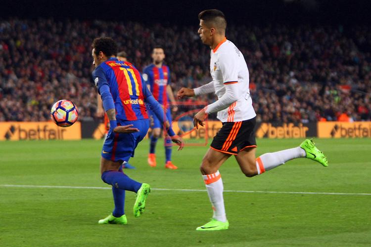 League Santander 2016/2017. Game: 28.<br /> FC Barcelona vs Valencia CF: 4-2.<br /> Neymar vs Joao Cancelo.