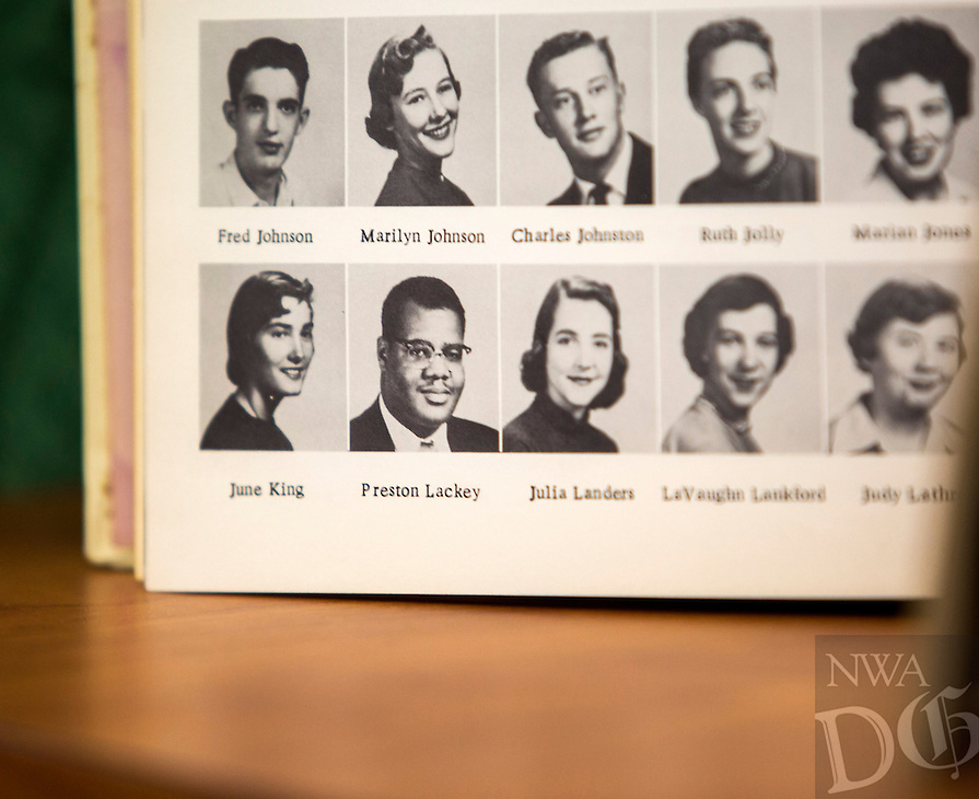 NWA Democrat-Gazette/JASON IVESTER<br /> 1956 Fayetteville High School yearbook; photographed on Monday, Feb. 8, 2016