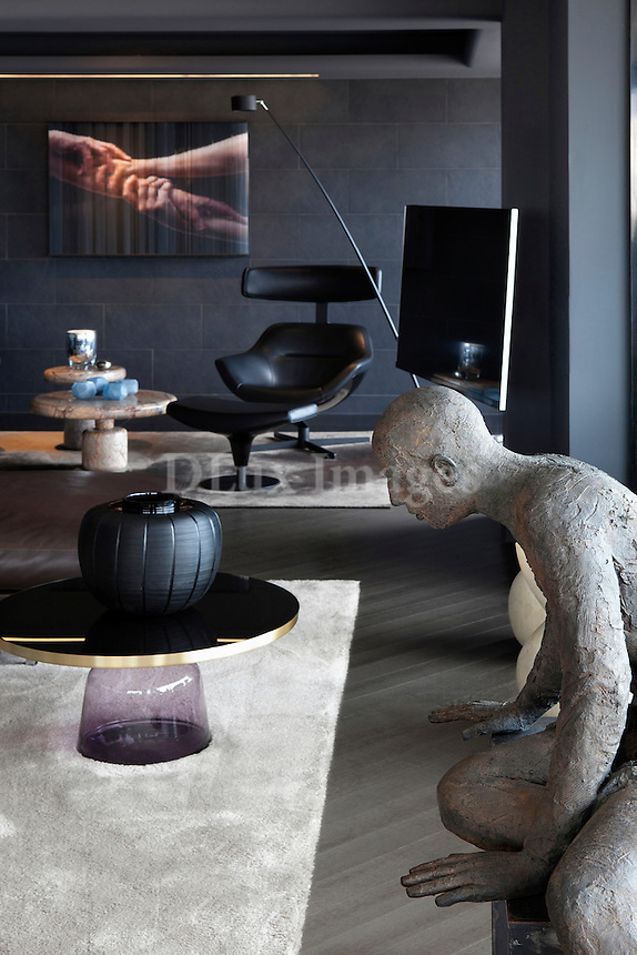 Sculpture in contemporary living room